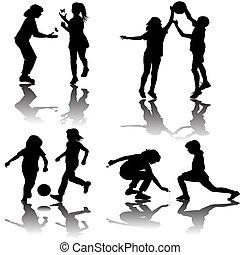 körvonal, csoport, játék, gyerekek