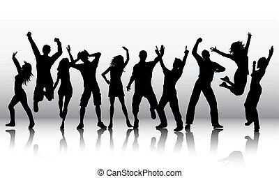 körvonal, emberek, tánc