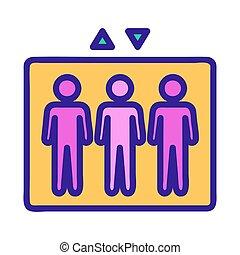 körvonal, emberek, vector., ábra, jelkép, lift, elszigetelt, ikon
