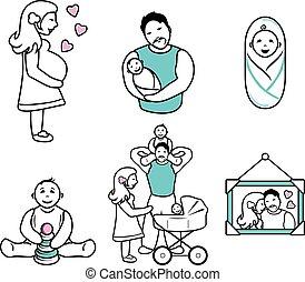 körvonal, family., hat, csekkszámlák, karikatúra