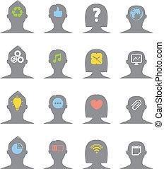 körvonal, fej, gondolat, emberi, különböző