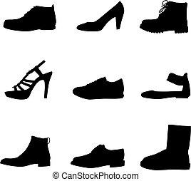 körvonal, fekete, cipők