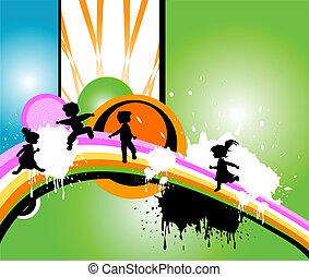 körvonal, futás, gyerekek, jumpin