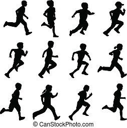 körvonal, futás, gyerekek