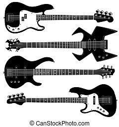 körvonal, gitár, vektor, basszus