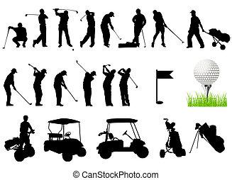 körvonal, golf, férfiak, játék