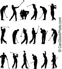 körvonal, golfjátékos