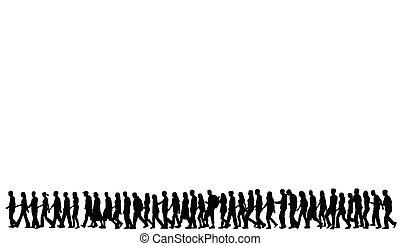 körvonal, gyalogló, emberek