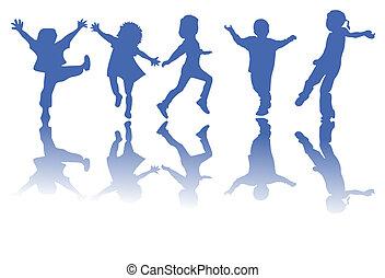 körvonal, gyerekek, boldog