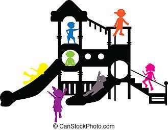 körvonal, gyerekek, játszótér