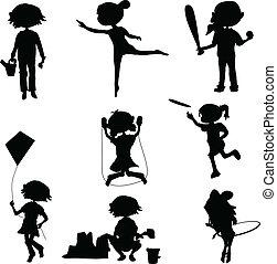 körvonal, gyerekek, karikatúra
