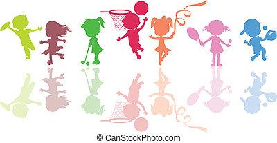 körvonal, gyerekek, sport