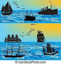 körvonal, hajó, sea-vector