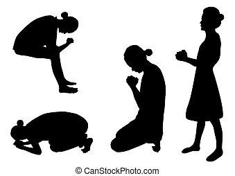 körvonal, imádkozás
