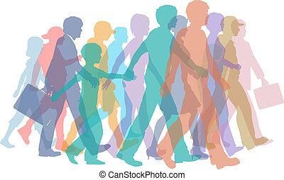 körvonal, jár, tolong, színes, emberek