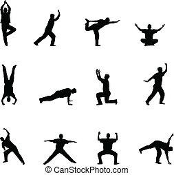 körvonal, jóga, gyakorlás