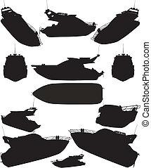 körvonal, jacht, csónakázik
