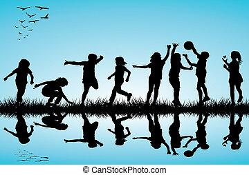 körvonal, külső, csoport, játék, gyerekek