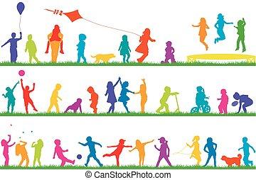 körvonal, külső, gyermekek játék, színezett