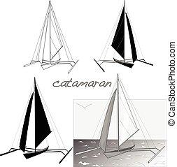 körvonal, katamarán, csónakázik