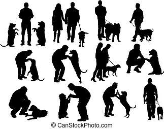 körvonal, kutya, emberek