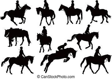 körvonal, ló, tíz, lovasok