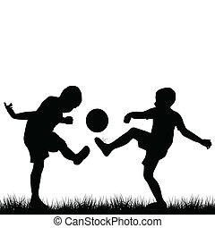 körvonal, labdarúgás, gyermekek játék