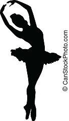 körvonal, leány, táncol, balett