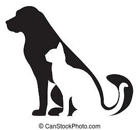 körvonal, macska, zenemű, kutya