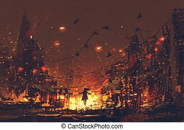 körvonal, nő, háttér, égető, falu