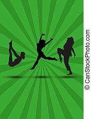 körvonal, nők, zöld, három, tánc