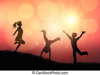 körvonal, napnyugta, játék, táj, gyerekek