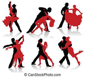 körvonal, párok, bölcsész, tánc