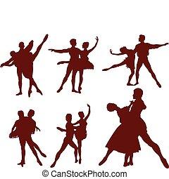 körvonal, párosít, balett