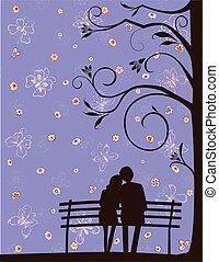 körvonal, párosít, szerető, romantikus, bírói szék, kép, liget, dátum, vektor