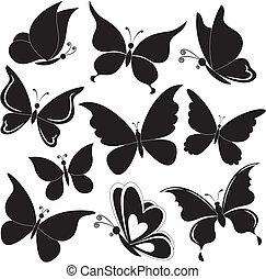 körvonal, pillangók, fekete