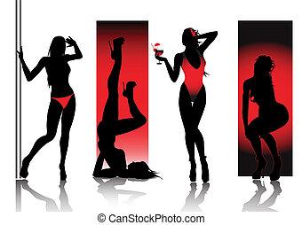 körvonal, piros, szexi