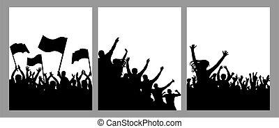 körvonal, poszter, set., zászlók, éljenzés, tolong, tiltakozás, rajongó, ábra, függőleges, tolong., emberek, boldog, vektor