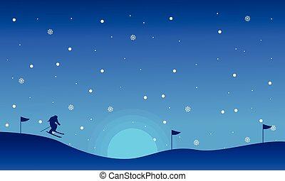 körvonal, síelés, karácsony, táj, emberek