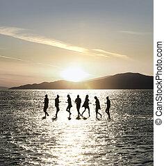 körvonal, sekély, tenger, tánc