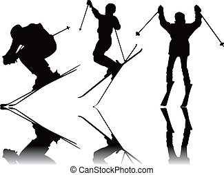 körvonal, sport, síelés