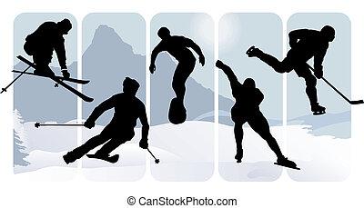 körvonal, sport, tél
