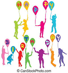 körvonal, születésnap, birtok, üzenet, léggömb, gyerekek, boldog