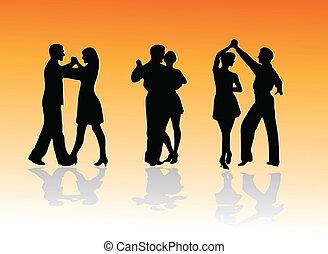 körvonal, táncol, párosít
