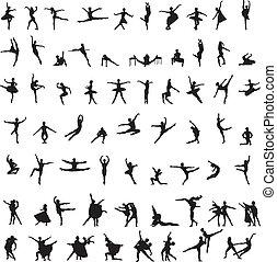 körvonal, táncos, állhatatos, balett
