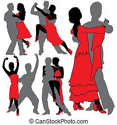 körvonal, táncosok, állhatatos, latino