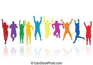 körvonal, ugrás, csoport, young emberek
