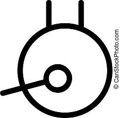 körvonal, vector., ábra, gong, jelkép, elszigetelt, ikon