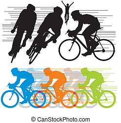 körvonal, vektor, állhatatos, kerékpárosok