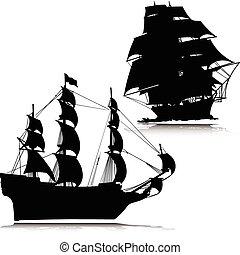 körvonal, vektor, öreg, csónakázik